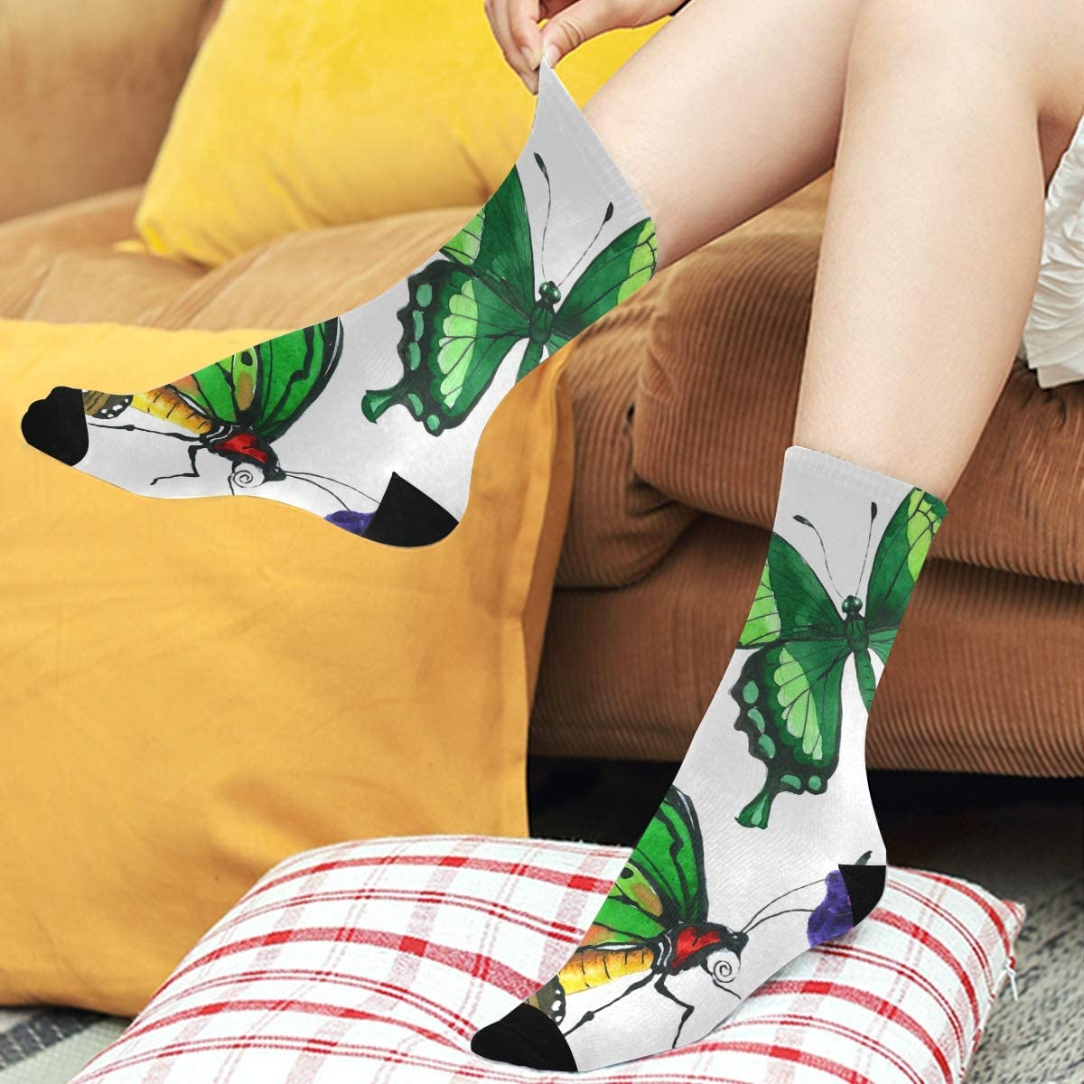 Butterflies on Blue Unisex Novelty Ankle Socks Adult Size 6-11
