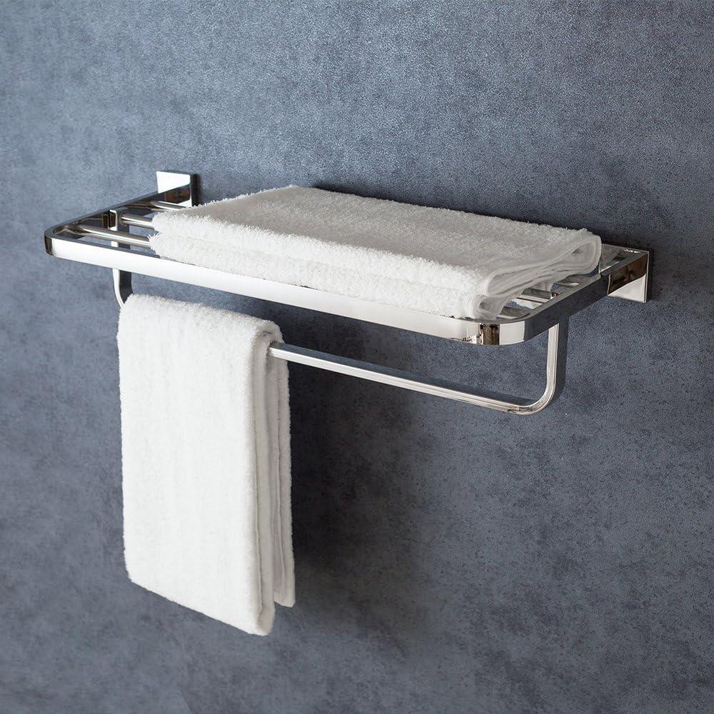 XiangYi Bath Towel Rack with Towel Bar 24-Inch SUS 304 Stainless Steel Bathroom Towel Bar Wall Mount Chrome