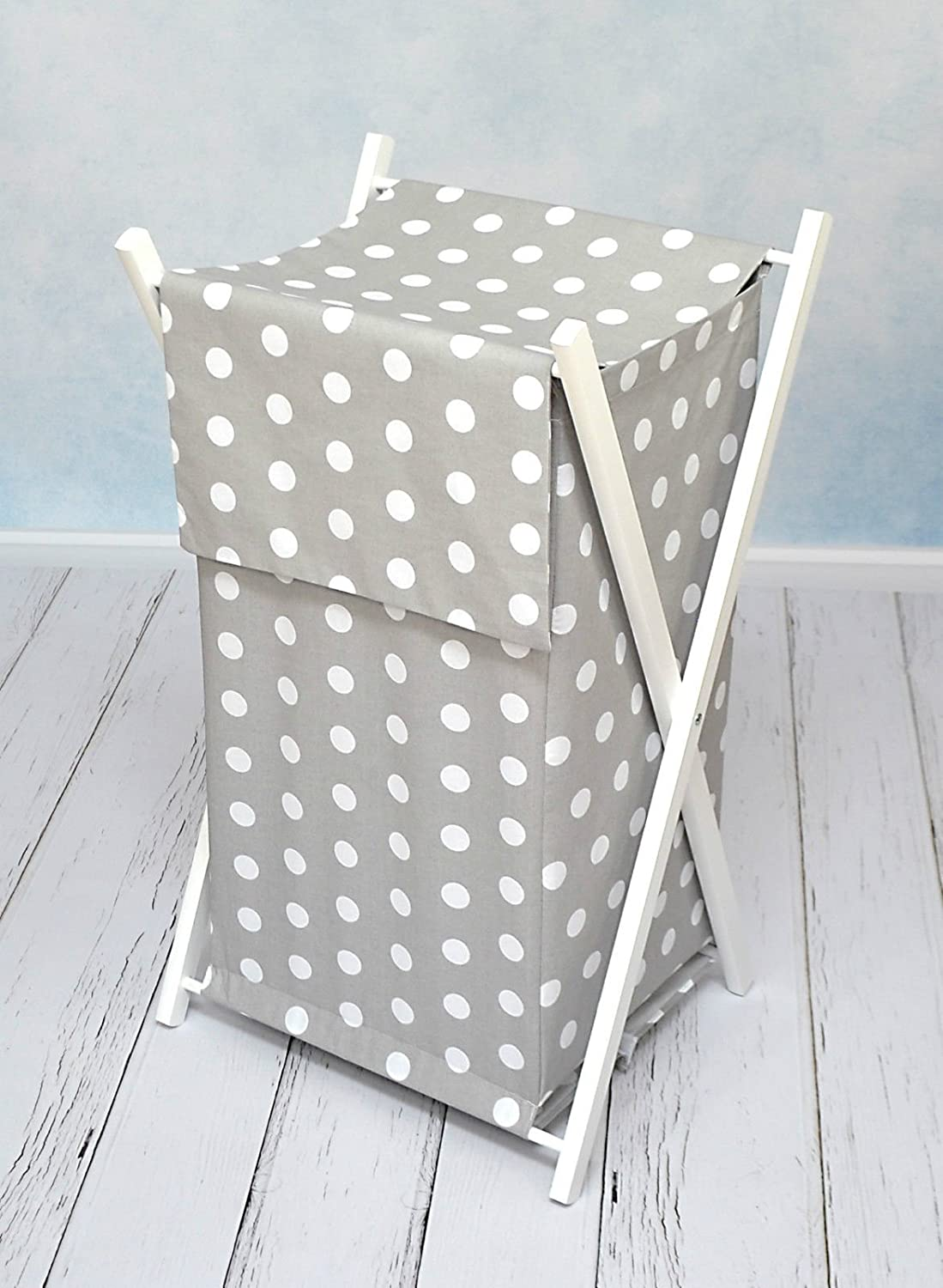 BABY LAUNDRY BASKET NURSERY HAMPER BAG STORAGE BIN WITH REMOVABLE LINEN 70 LITRE WHITE FRAME (White) Babymam