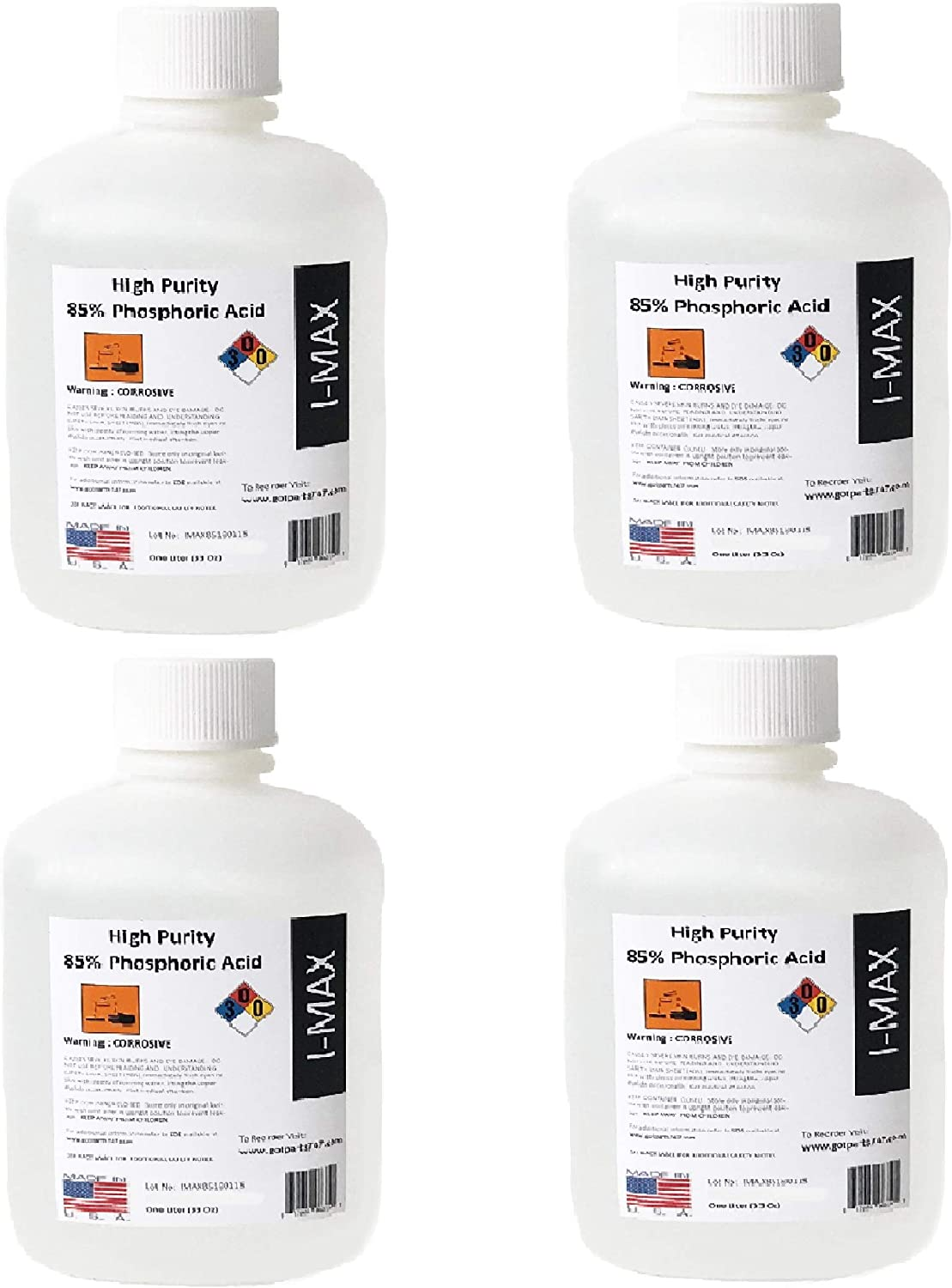 4 x 1000 ml (More than One Gallon) 4 Liters Phosphoric Acid 85% Food Grade, Rust Remover, pH Down - High Purity Phos Acid - More than 4 Quarts - Made in the USA