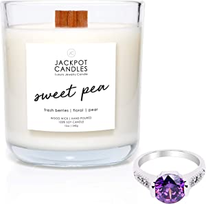 Jackpot Candles Sweet Pea Candle with Ring Inside (Surprise Jewelry Valued at $15 to $5,000) Ring Size 7