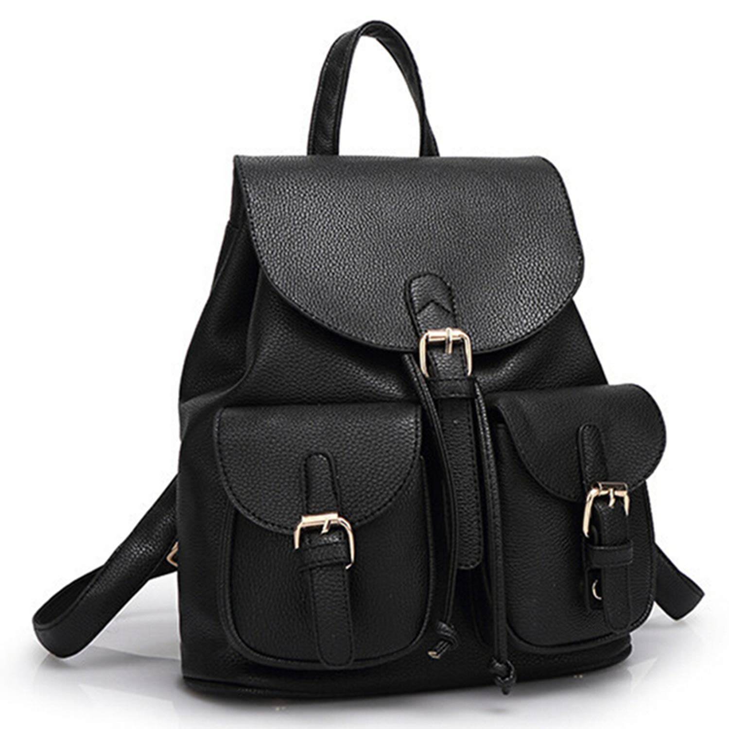 Amazon.com | Women Leather Backpack Black Bolsas Mochila ...