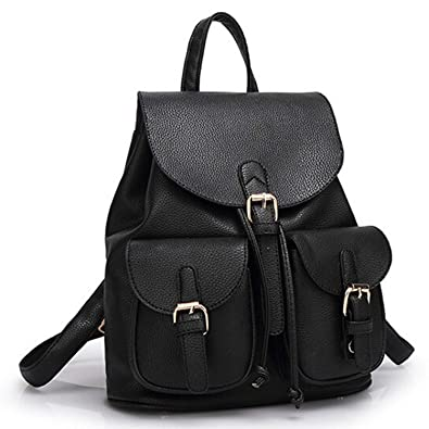 Amazon.com: Women Leather Backpack Black Bolsas Mochila ...