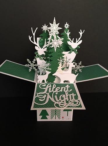 3D Pop Up Christmas Card White Snow Flake Tree