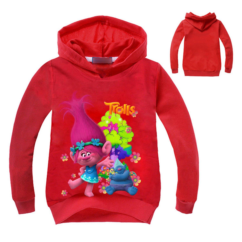 PCLOUD Trolls Little and Big Girls Cartoon Printed Hoodie