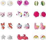 SkyWiseWin Hypoallergenic Earrings Set for Little Girls, Children's Colorful Cute Earrings for Kids