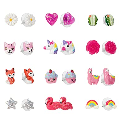 58a15d4ac SkyWiseWin Small Cute Simple Hypoallergenic Earrings for girls - Colorful Cute  Animal earrings Set for Kids