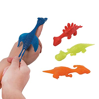 Stretchy Flying Dinosaurs Flingers Toys (12 Pack) Fun Value Toys and Party Favors: Toys & Games