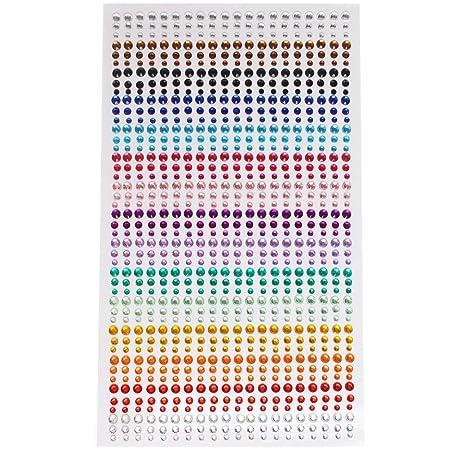 Ofoen 900 pieces rhinestone sticker 3mm 4mm 5mm one stickers sheet round self adhesive gem