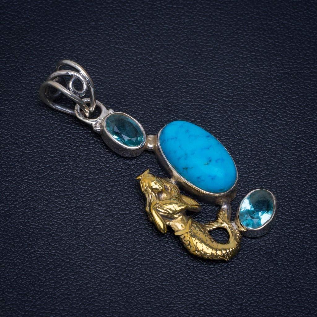 Natural Howlite and Blue Topaz Unique Design 925 Sterling Silver Pendant 1 1//2 D210