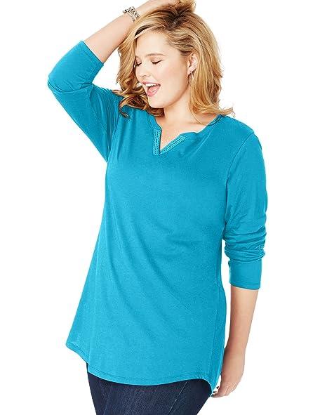 f70ba082db6 Amazon.com: Just My Size Womens Essentials Lightweight Split Neck ...