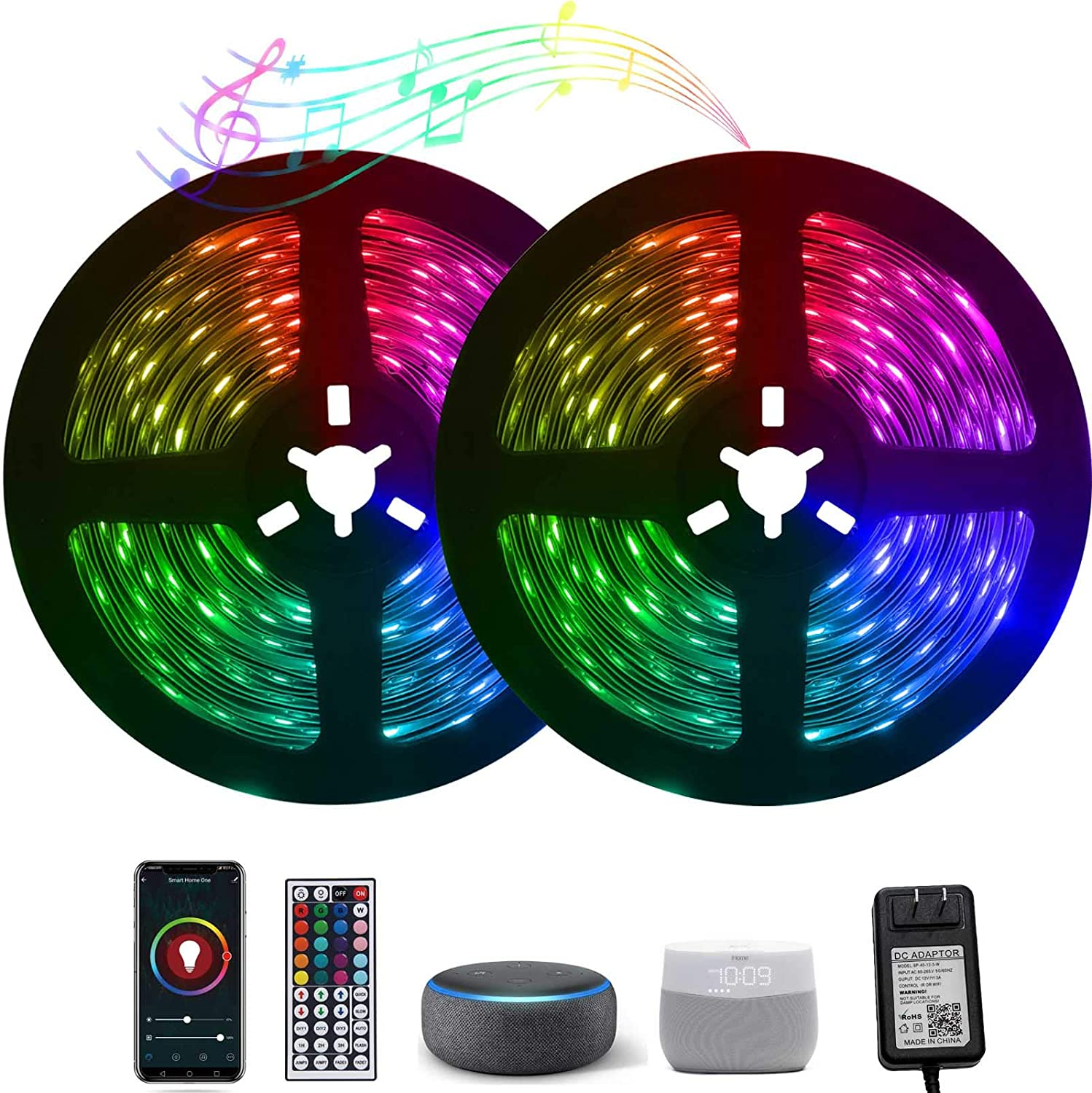 WiFi LED Strip Lights Work with Alexa Google Home, Xbuyee 80ft App Controlled LED Light Strip with 44-Key Remote, Flexible Color Changing 5050 RGB Light Strips for Bedroom, Kitchen, Home (2x40ft)