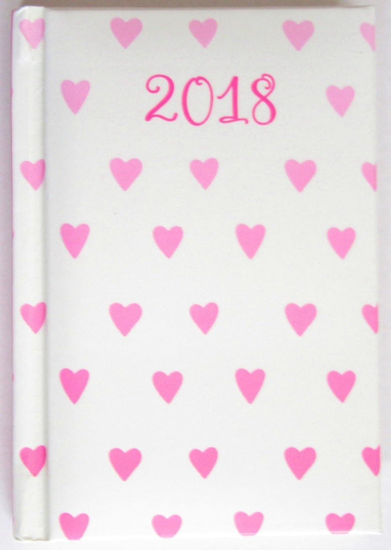 2018 agenda semana para ver acolchado, de color rosa corazones - Bolsillo: Amazon.es: Oficina y papelería