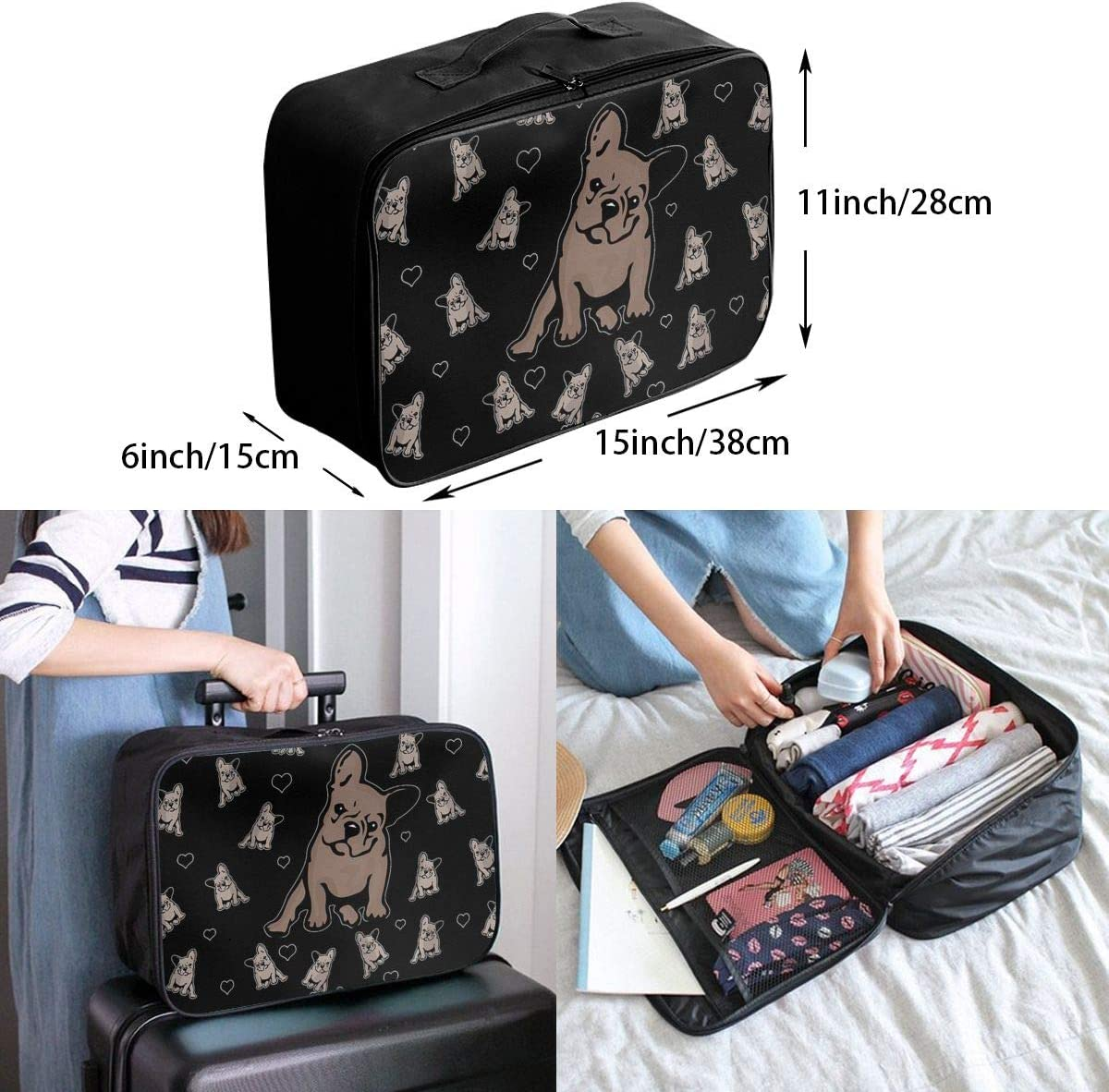 Various Dog Group Travel Carry-on Luggage Weekender Bag Overnight Tote Flight Duffel In Trolley Handle