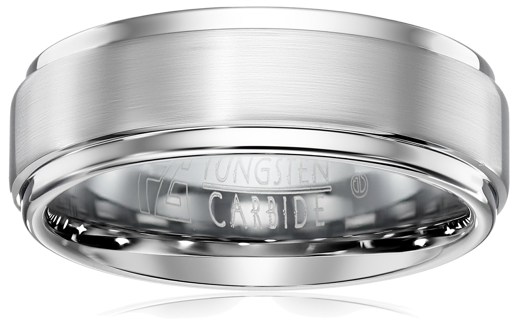 Triton Men's Grey Tungsten 9mm Step Edge Comfort Fit Wedding Band, Size 11.5 by Amazon Collection (Image #1)
