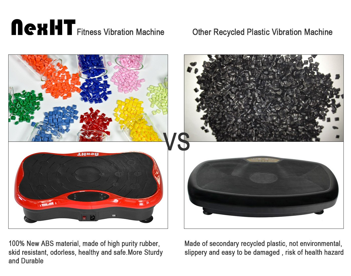 NexHT Mini Fitness Vibration Platform Whole Body Shape Exercise Machine with Built-in USB Speaker(89012A), Fit Vibration Plate Massage Workout Trainer with Two Bands &Remote,Max User Weight 330lbs.Red by NexHT (Image #5)