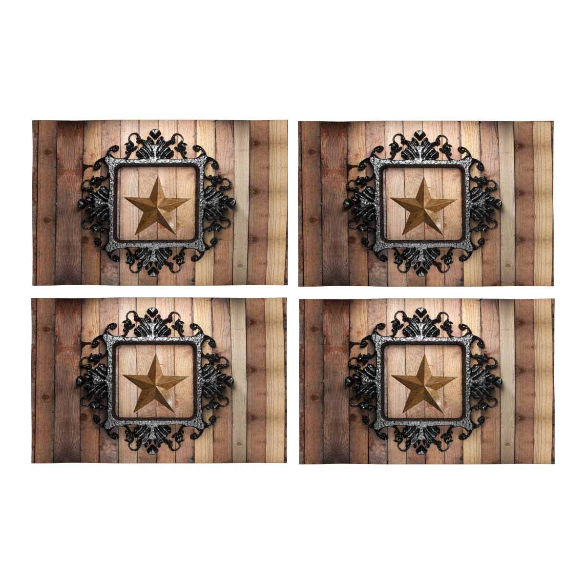 12x18 12x18 InterestPrint Western Texas Star in Wood Place Mats Heat-Resistant Placemats Stain Set of 6 Resistant Anti-Skid Washable Fabric Placemat Table Mats