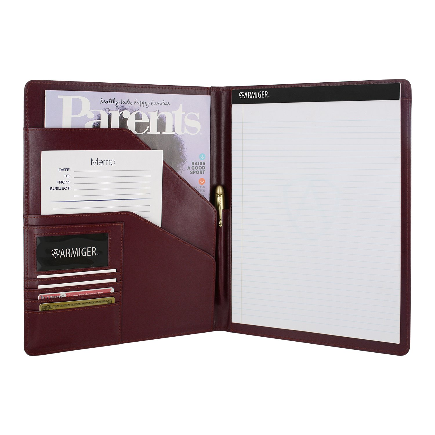 Armiger Executive Bonded Leather Professional Business Document and Business Card Holder Resume Interview Portfolio Pad folio Organizer with Letter Size Writing Notepad - Burgundy