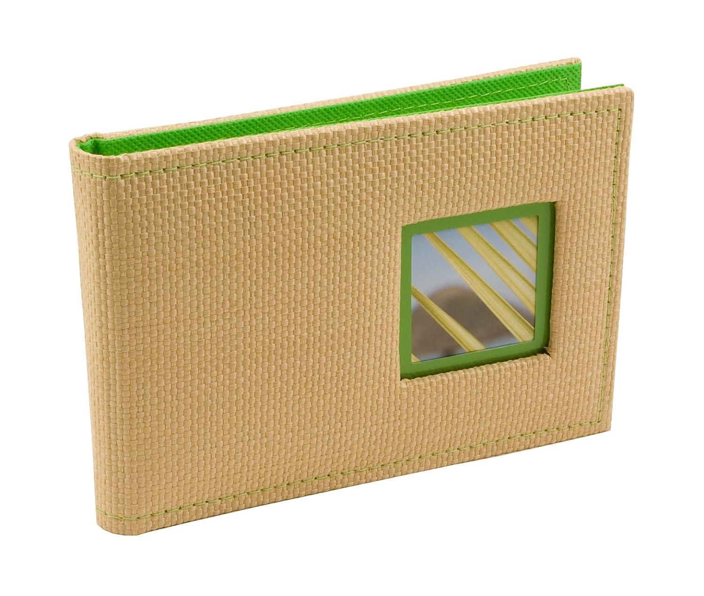 BorderTrends Beach 40-Pocket Rattan Cover Photo Album, Green