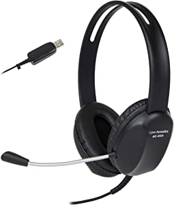 Cyber Acoustics USB Stereo Headset with Headphones and Noise Cancelling Microphone for PCs and Other USB Devices in The Office, Classroom or Home (AC-4006)