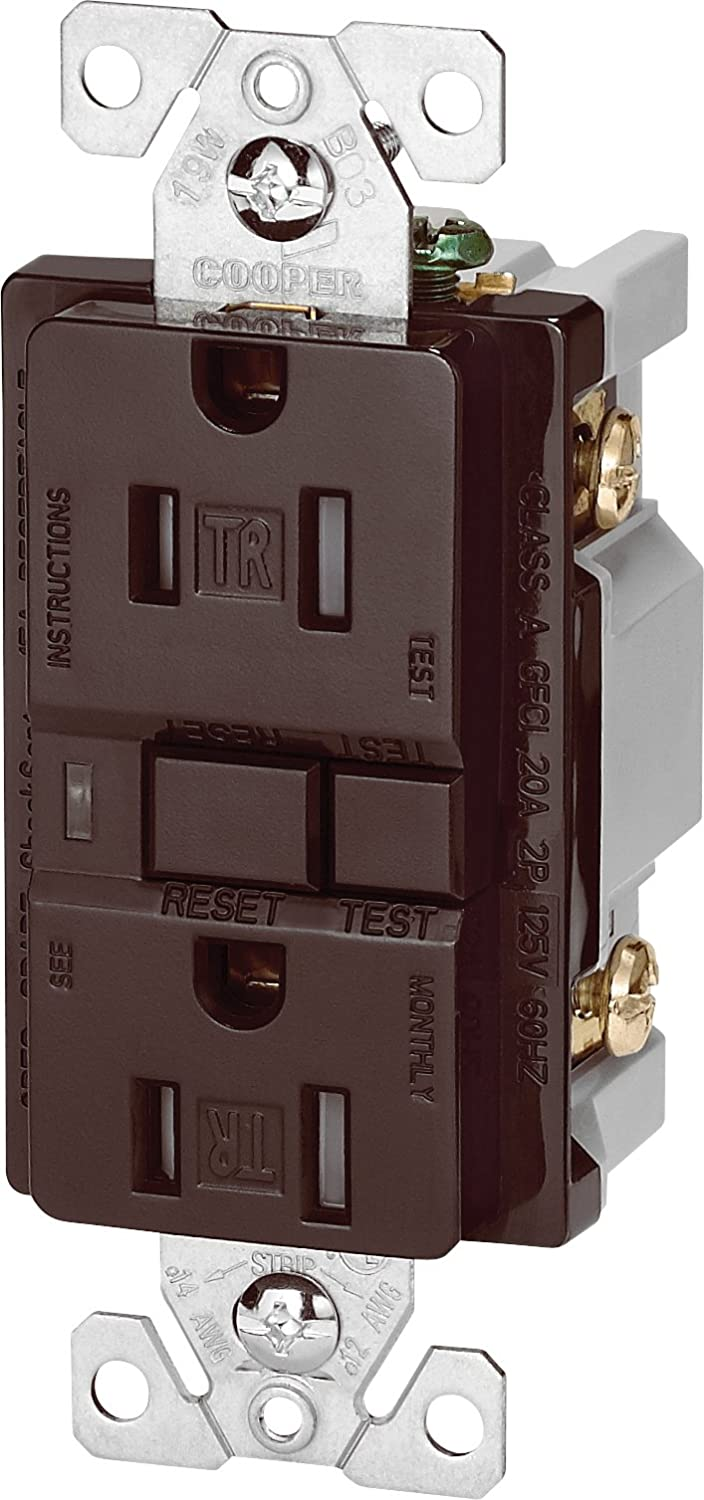 The Eaton TRVGF15BK Tamper Resistant GFCI Decorator Duplex Receptacle, Black Cooper Wiring Devices