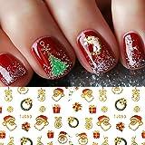 Christmas Nail Stickers - 380PCS 3D Metal Gold Xmas Design Self-adhesive Nail Decals, Bronzing Snowflakes Snowmen Santa…