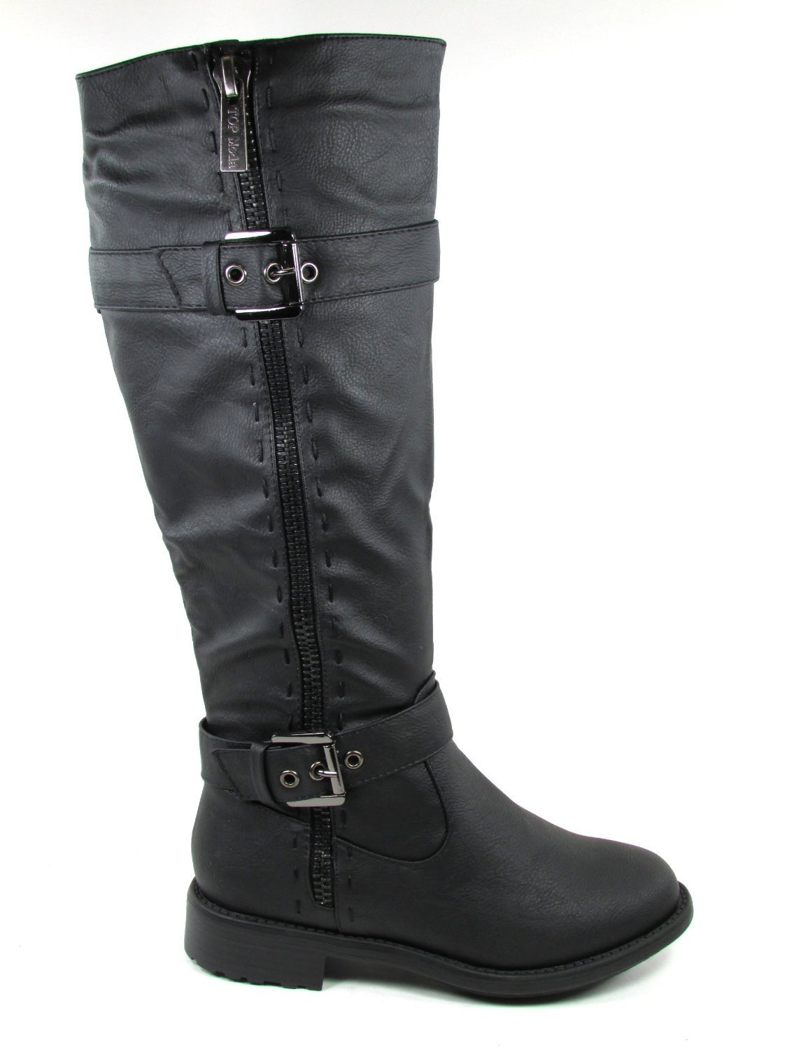 Top Moda Fab 5 Womens Knee High Buckle Riding Boots BLACK,Fab-5 Black 6.5 by Top Moda (Image #2)