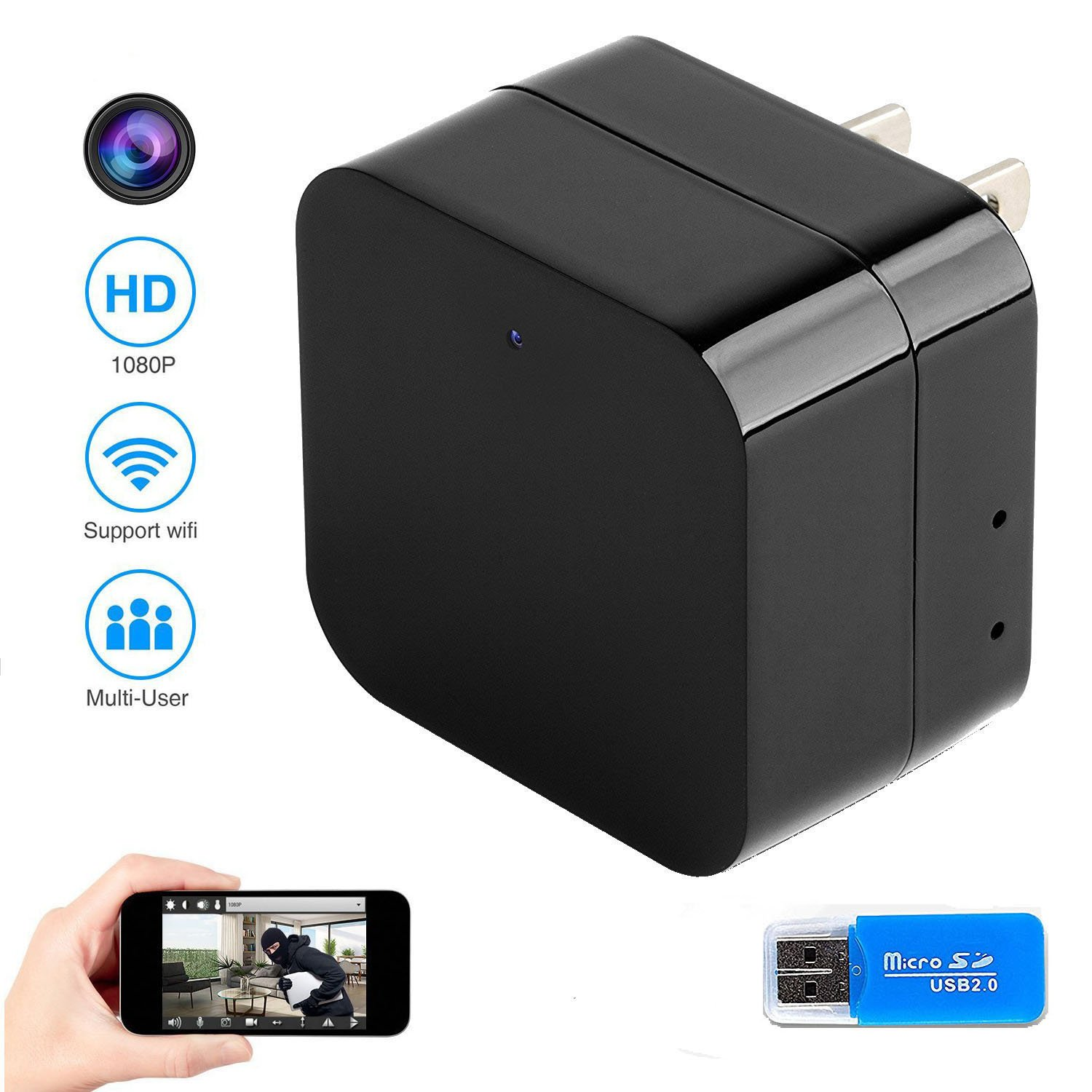 Wall Charger WiFi Hidden Camera, FreSky HD 1080P Wireless USB Charger Adapter Mini Hidden Camera Home Security Pet Nanny Cam with Card Reader