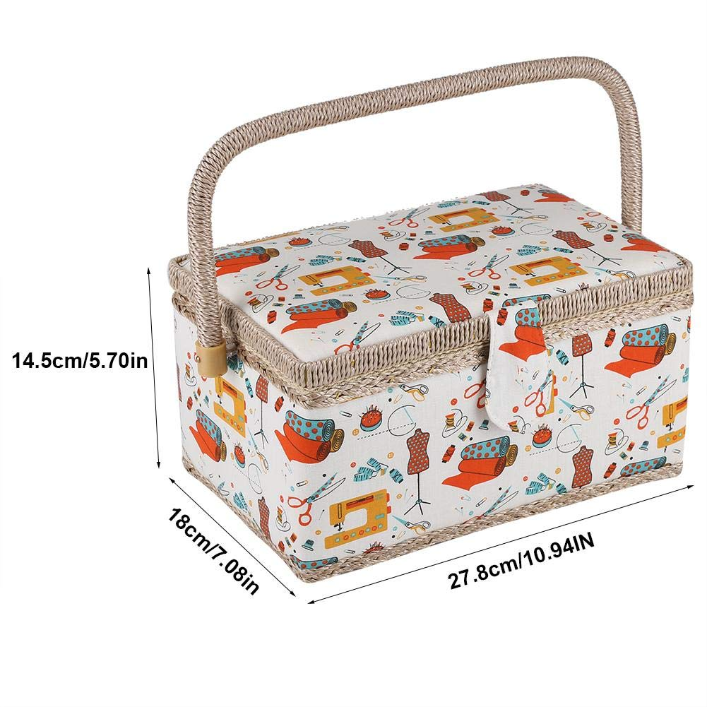 Sewing Kit Storage Case Sewing Basket Craft Box Fabric Household Needle Sundry Organizer Case Holder with Handle for Home Sewing Tool Kit Supplies
