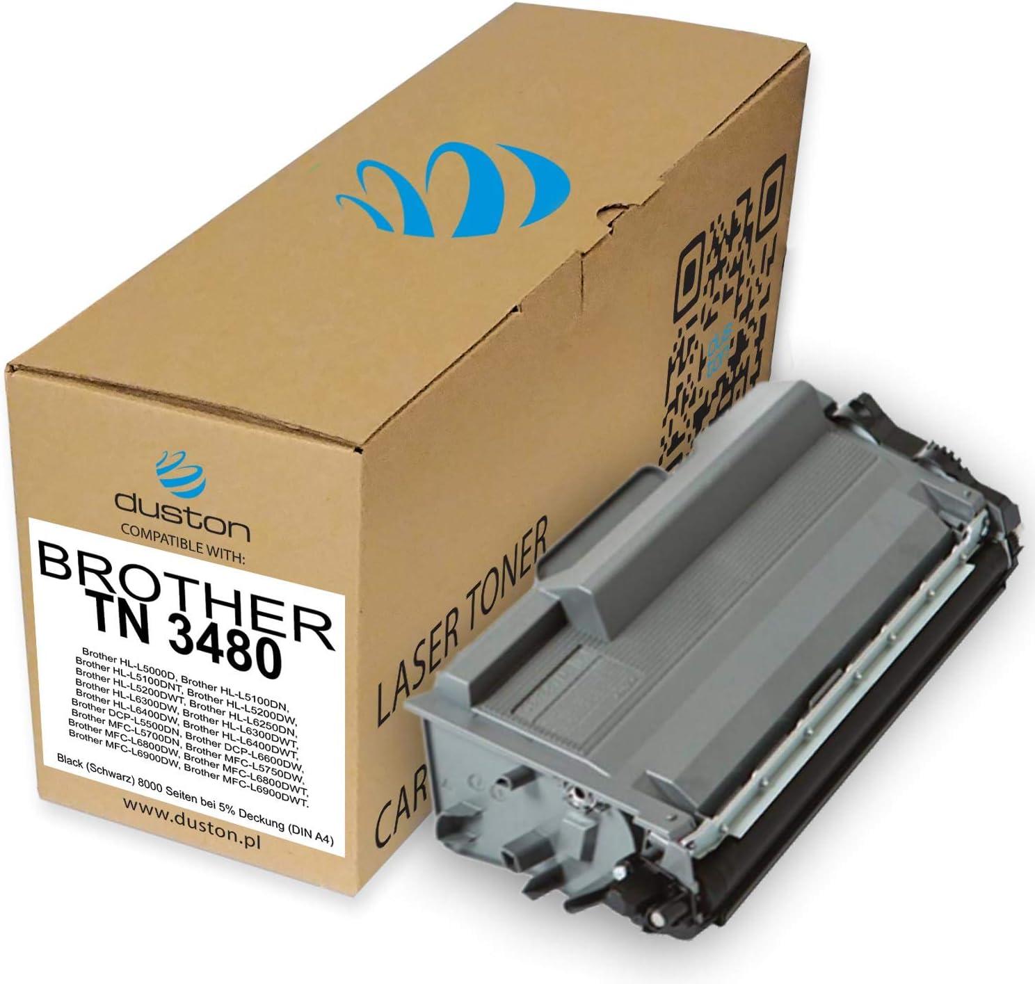 L6800 L6600 Toner nero TN3480 compatibile con Brother DCP-L5500 HL-L5000 2 pezzi L6900 L5100 L6400 L5750 L6250 L6300 MFC-L5700 L5200