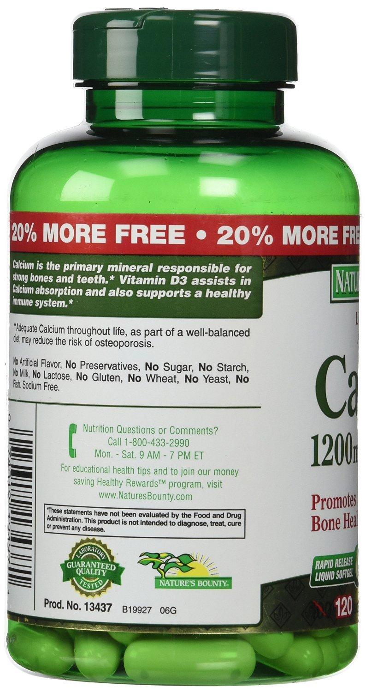 Natures Bounty Calcium Plus Vitamin D3 1200 miligram Capsules - 120 Ea, Pack of 3