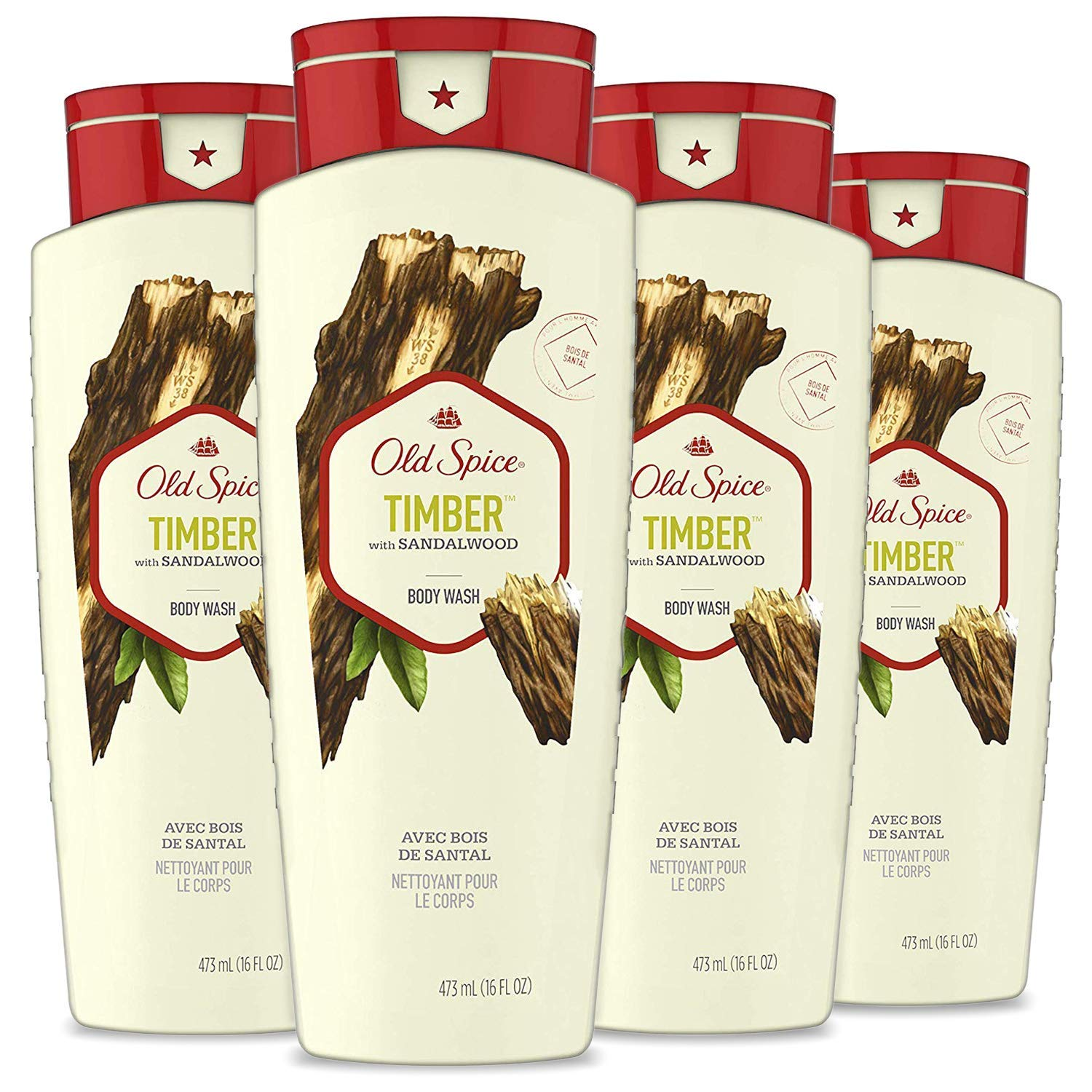 Old Spice Fresher Collection Men's Body Wash, Timber, 16 Fl Oz (Pack of 4)
