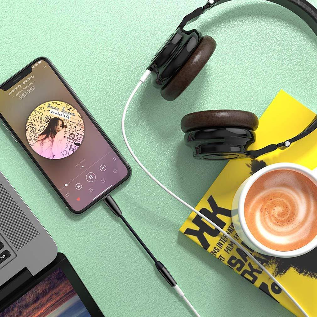 IMBCYL Adaptador de Auriculares para iPhone 7 Adaptador de Conector Jack 3,5mm Cables Auricular para iPhone XR//X//XS// 7//7Plus// 8//8Plus Aux Adaptador Conector M/úsica Cable Soporta Todos los iOS Negro