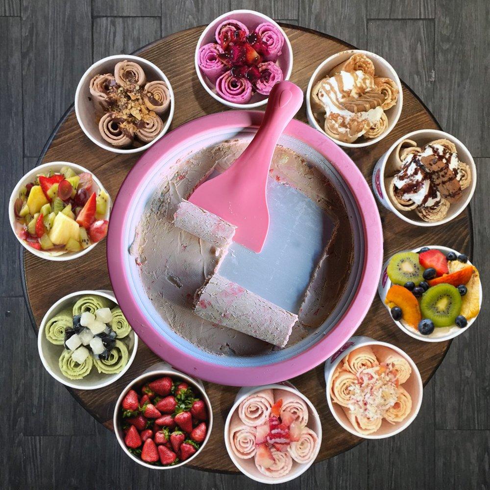 mit rezepten DIY Roll Eiscreme Rollen Machine mikamax Zum Zubereiten von Ice Cream Rolls Eismaschine Eis Teppanyaki Platte