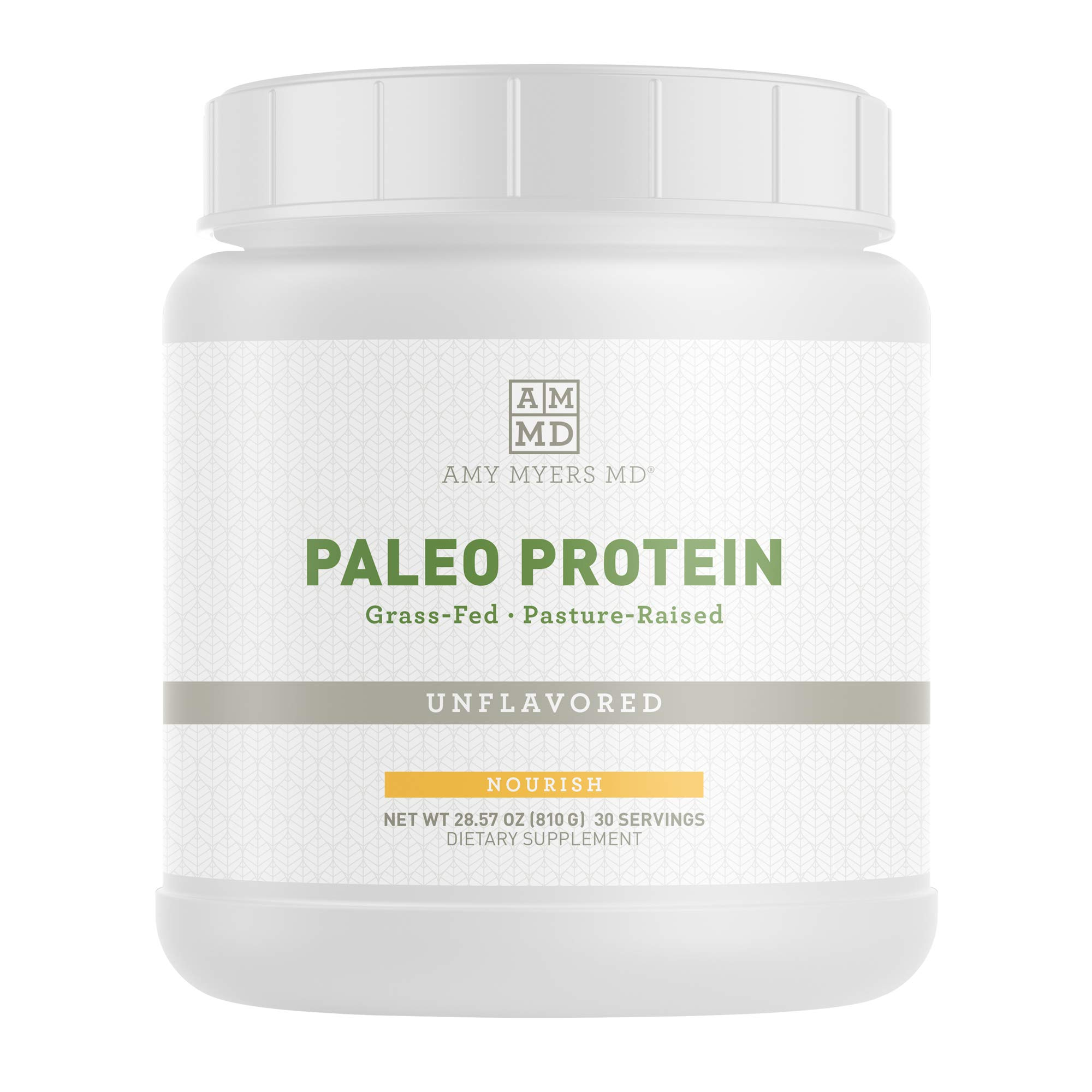 Unflavored Pure Paleo Protein by Dr. Amy Myers - Clean Grass Fed, Pasture Raised Hormone Free Protein, Non-GMO, Gluten & Dairy Free - 26g Protein Per Serving - Plain Shake for Paleo and Keto by Amy Myers, MD