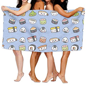 Happy Kawaii Sushi toalla de baño toallas de playa piscina toalla ideal para viajes de playa, piscina, nadar y Camping talla única: Amazon.es: Hogar