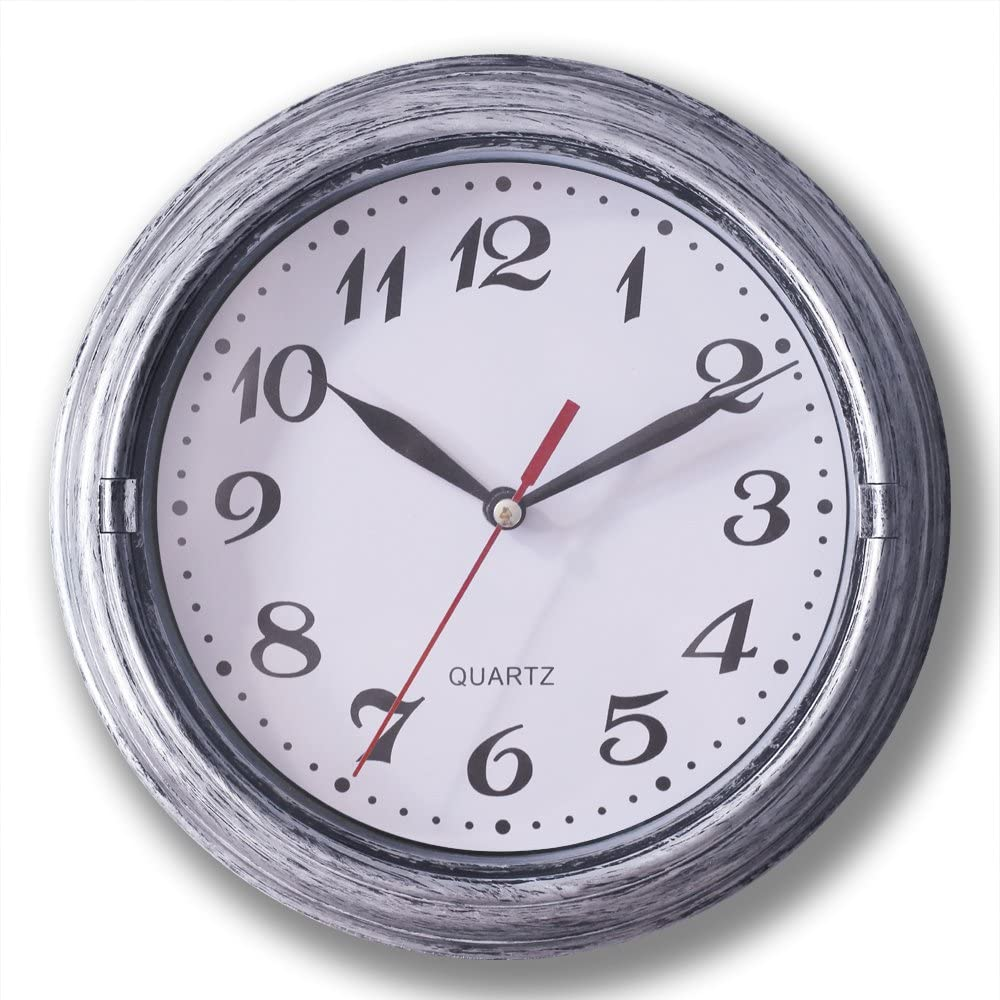 Decorative Silent Wall Clock Non-ticking 8 Inches Round Quartz Battery Operated Decor Wall Clock Vintage Silver Metalic Looking Large Number Easy To Read For Home School Hotel Office (Silver)