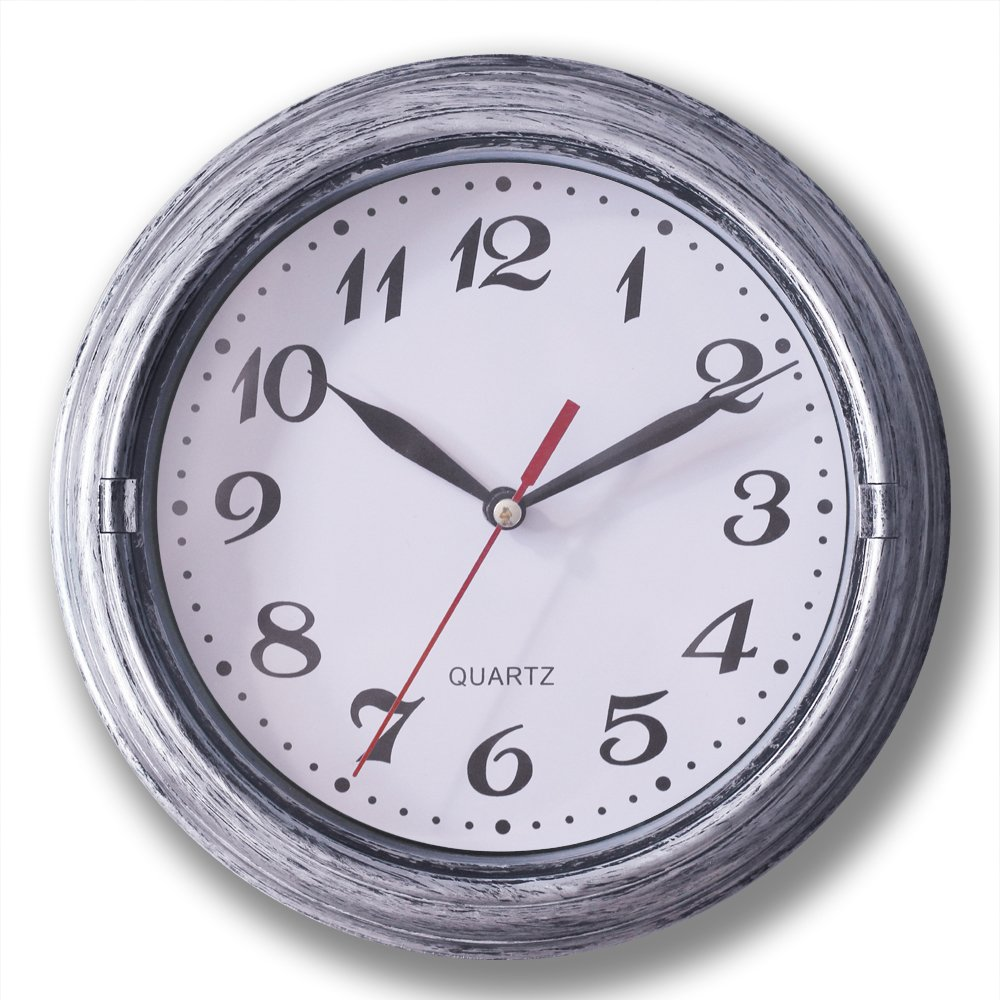 Decorative Silent Wall Clock Non-ticking Decor Wall Clock 8 Inches Vintage Silver Metalic Looking Easy to Ready For Home/School/Hotel/Office