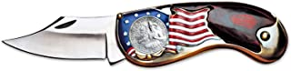 product image for American Flag Coin Pocket Knife with Bicentennial Washington Quarter| 3-inch Stainless Steel Blade | Genuine United States Coin | Collectible | Certificate of Authenticity