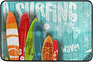 Surfboard Surfing Bath Mat Non Slip Memory Foam Door Mat Bathroom Rugs Carpet for Inside Outdoor 15.7 x 23.6 in