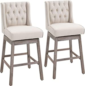 HOMCOM 2 Piece Bar Height Chair Swivel Barstool with Integrated Footrest, Solid Wood Design, and a 180 Degree Rotation, Beige