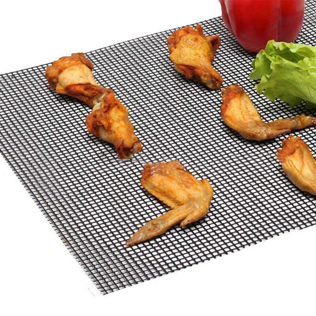 2 Pack Black 2019 Mintiml Grill Mat BBQ Grill Mesh Mat Non-Stick Teflon Cooking Sheet Liner Fish