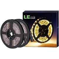 LE LED Streifen 12V 5m Selbstklebend, Leiste mit 300 Stück 3528 LEDs, 3000 Kelvin 1200 Lumen Warmweiß DIY Flexibel LED Band für Innen Heim Küche Feiertag, 2er Pack