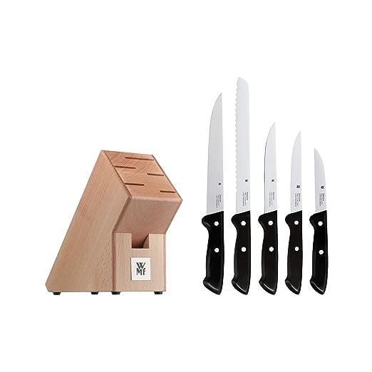 WMF Juego de cuchillos con bloque de madera, 5 piezas, colección Classic Line
