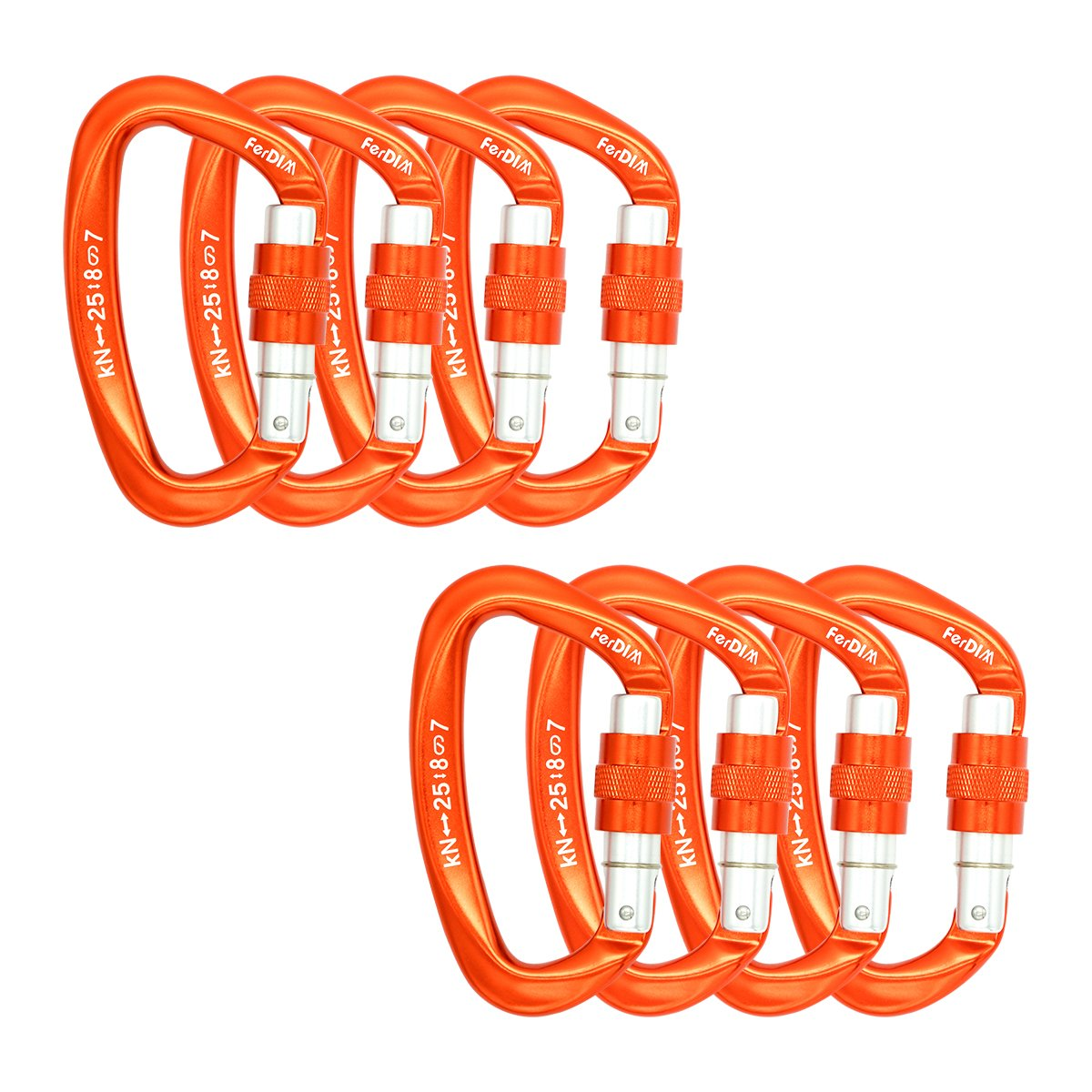 FerDIM 25KN Rock Climbing Carabiner, D-Shaped Hot-Forged Magnalium Locking Climbing Hook Holds 5511lbs with Screwgate Clip Climber Hiking Karabiner Outdoor Sport Tools CE Certified (Orange, 8/Pack)
