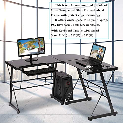 Upgrade Computer Desk Corner Desk L Shaped Desk,Glass Office Gaming Desk