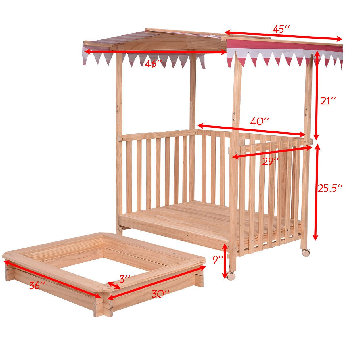 NanaPluz 40'' Fir Wood Kids Beach Cabana Sandbox Children Retractable Playhouse Outdoor Toy Play w/ Red Canopy & 4 Swivel Casters with Ebook by NanaPluz (Image #4)