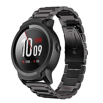 Aimtel para Ticwatch Pro Correa de Acero Inoxidable, 22 mm, Correa de Metal de Repuesto Accesorios para Tic Watch Pro (Negro)