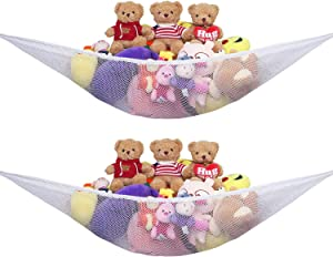 Stuffed Animal Hammock Net, 2 Pack Toy Storage Organizer with Extra Large Design, Corner Hanging Holder and Great Decor for Kids Bedroom, Baby Nursery Room, Expands to 83 feet