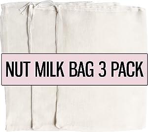 Nut Milk Bag 3 PACK Fine Mesh Strainer Almond Cashew Milk Cotton Food Filter Food Storage Greek Yogurt Cottage Cheese Cheesecloth